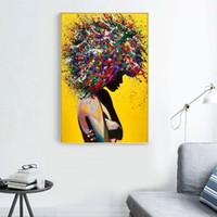 современное оформление домашнего офиса оптовых-Современная Портрет девушки Холст Печатные издания маслом Wall Art Poster Картины для офиса Гостиная Украшение