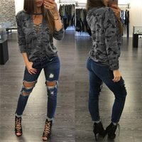 Wholesale neck hanging t shirts resale online - Women tops summer hot sale sexy v neck camouflage low waist strap hanging neck shirt apparel