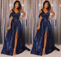 vestido sexy com uma alça venda por atacado-Refletivo Azul Lantejoulas Vestidos de Baile 2019 Sexy Coxa Alta Dividir Uma Linha de Um Ombro Cinta Vestidos de Noite Vestidos Formais BC1169