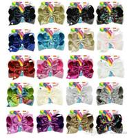 ingrosso bobby flash-2018 nuovo stile JOJO Bow paillette bowknot 8 pollici 20 colori Mixed Girl bobby pin lampeggiante bambini accessori per capelli con cartone