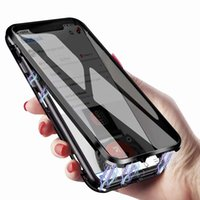 Wholesale iphone spy phone for sale – best Privacy Magnetic Case for iPhone X Xs Clear Double Sided Tempered Glass Magnet Absorption Metal Bumper Frame Thin Anti Spy Phone Case