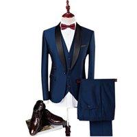 ingrosso vestiti di colore rosso-Crazy2019 Alien Pure Colour Tute da uomo Giacche + Pantaloni + Gilet 3XL 4XL Blu scuro Vino rosso Elegante Business Matrimoni Banchetti Slim Fit