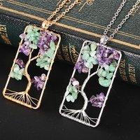 gewebte metallhalskette großhandel-Womens hochwertige handgemachte kleine natürliche Lebensbaum Stein Halskette Woven Metal Cord Halskette zum Verkauf