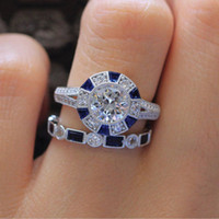 Wholesale blue diamond rings jewelry for sale - Group buy YHAMNI Fashion Promise Rings Set Blue Zircon CZ Sterling Silver Anniversary Wedding Band Rings for Women Gift Jewelry RZ670