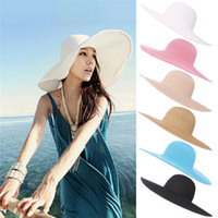 Wholesale large brim visors resale online - Seaside Sun Visor Hat Female Summer Sun Hats For Women large Brimmed Straw Sun Hat Folding Beach GirlsMMA1485