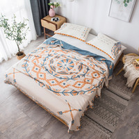 Wholesale cotton comforters for kids resale online - Geometric washed cotton blanket Feather towel Quilt Summer comforter throw deer bed cover bedspread for adult kids cm