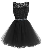 azul 8vo grado vestidos de fiesta al por mayor-2019 Junior 8th Grade Homecoming Vestidos de fiesta Sky Blue Short Prom Vestidos Barato A-Line Mini Tulle Lace Beads Cap mangas Bateau Cocktail