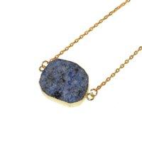 mavi kolye doğal taş toptan satış-Büyük Düzensiz Ham Dilim Nokta Taş bağlayıcı anahtarlık kolye 2019 doğal mavi kristal kuvars noktası kolye kadın kolye