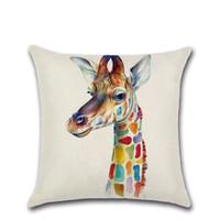 zebra yastık kılıfları toptan satış-Renkli karikatür Zürafa zebra gergedan elk Minder Kapak Dekorasyon Ev kanepe sandalye koltuk yastık kılıfı için arkadaş mevcut çocu ...