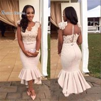 Wholesale simple hi lo prom dresses resale online - 2019 New Mermaid Evening Dresses Lace and Satin Ruffles Evening Gowns Hi Lo Prom Party Dresses Custom Made Tea Length Party Wear