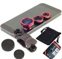 ingrosso fisheye per la fotocamera del telefono-Clip universale 3 in 1 Fish Eye Obiettivo Macro grandangolare Fotocamera per cellulare Obiettivo in vetro Fisheye per iPhone 6 6 Plus 5s per Samsung S5 S6 S7 edge