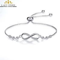 unendliche armbänder für frauen großhandel-Luxuriöse Sterling Silber 925 gefüllt verstellbare Infinity Armbänder homme / Femme Charme ChainLink Armbänder für Frauen / Männer / Paare
