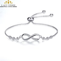 Wholesale infinity couple bracelet online - Luxurious sterling silver filled adjustable Infinity Bracelets homme Femme charm chain Link bracelets for women men couples