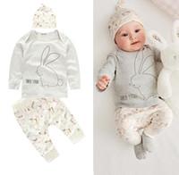 Wholesale baby clothes rabbit suits for sale - Group buy 2019 spring newborn baby suit baby clothes simple sweet White rabbit and elk suit piece suit Children s designer clothes