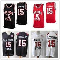 ingrosso marchi di basket-NCAA maschile # 15 Kawhi Leonard San Diego State Aztecs College Retro maglie di pallacanestro Personalizzato Qualsiasi numero Nome Jersey cucito loghi di marca