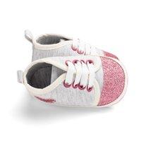 bando ayakkabı kızı toptan satış-Bling Shining Kalp Şeklinde Pamuklu Kumaş Bebek Yürüyor Ayakkabı Elastik Band Set Ayak Moda Tatlı Bebek Kız Sığ Rahat Ayakkabı