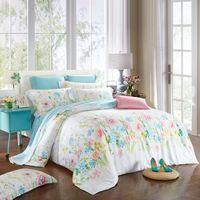 Wholesale blue floral sheet set queen resale online - Country Style Floral Bedding Set Queen King Size Quilt Cover Bed Sheets Pillowcase Summer Cool Tencel Textiles Farmhouse Decor