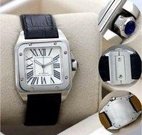 xl erkekleri izlemektedir toptan satış-Yeni Erkekler iki ton 100 XL İzle Otomatik Mekanik İzle Kahverengi Deri Gümüş Durumda erkek Spor orijinal toka Saatı