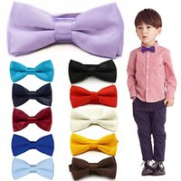 Wholesale baby cravats resale online - Children Bow Tie Baby Boy Kid Clothing Accessories Solid Color Gentleman Shirt Neck Tie Bowknot Colourful Cravats Gift