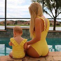 bebé madre traje a juego al por mayor-Mamá e hija combinan trajes Madre e hija traje de baño Niños traje de baño familiar Bikini madre bebé hija Traje de baño A6169