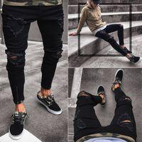 elastik ayak pantolonu toptan satış-Tasarımcı Erkek Kot Ince Motosiklet Moto Biker Nedensel Erkek Denim Pantolon Hip Hop Erkekler Kot Yeni kara delik elastik fermuar erkek ayak pantolon