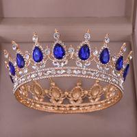 ingrosso blu corona tiaras-Corona di cristallo blu Tiara Accessori per capelli da sposa Corona di cristallo rotonda con strass per le donne Regina Diadema Corona re
