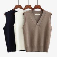 colete de camisola 4xl venda por atacado-Sweater Vest curto sem mangas Pullover Colete Mulheres malha Feminino Plus Size Casual Além disso szie preto sólido branco