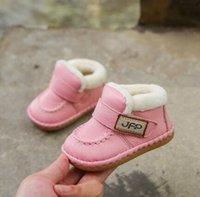 bebekler için düşmüş ayakkabılar toptan satış-Hakiki deri yürümeye başlayan bebek yumuşak tabanlı ayakkabılar sonbahar bebek ve kış sıcak ve kadife pamuk ayakkabı bot tutmak
