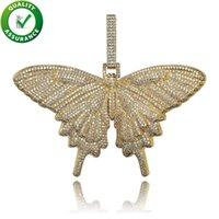 butterfly necklaces großhandel-Iced Out Anhänger Hip Hop Schmuck Luxus Designer Halskette Herren Gold Kette Anhänger Bling Diamant Schmetterling Charms Rapper Mode-Accessoires