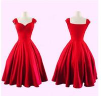 vestidos de reina anne al por mayor-2019 Nuevo Vintage Negro Rojo Corto Vestidos de Fiesta Reina Anne Sweetheart A Line Vestidos de Fiesta de Noche para Niñas 1373