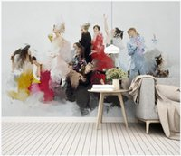 Wholesale simple figure painting resale online - WDBH custom photo d wallpaper European simple abstract oil painting figure beauty room home decor d wall murals wallpaper for walls d