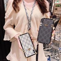 iphone fall gurt für hals großhandel-Square Vegan Leder Back Cover Fashion Case Umhängeband Lanyard Holster Telefon Shell für iPhone XS Max XR 6s 7 Samung S10 Plus