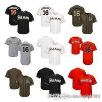 boş beyaz siyah beyzbol mayosu toptan satış-Erkek Kadın Gençlik Marlins Formalar 16 Fernandez Boş Jersey Beyzbol Forması No Numarası Siyah Beyaz Gri Gri Turuncu Yeşil Hizmete selamı