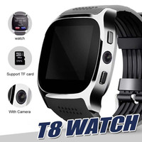 Wholesale use u8 watch online – For apple iPhone android T8 Bluetooth Smart watch Pedometer SIM TF Card With Camera Sync Call Message Smartwatch pk DZ09 U8 Q18