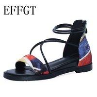 nuevo verano sandalias de tacón bajo al por mayor-EFFGT 2019 venta caliente zapatos nuevos mujer cremallera zapatos de cuero genuino mujeres Casual tacones bajos cuñas sandalias mujeres verano K53