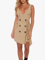 katı elbise düğmeleri toptan satış-Hee grand 2019 kadınlar yeni sling dress sapan derin v yaka şal kalça kısa dress kolsuz katı bahar ile düğme wqd929