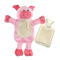 ingrosso bottiglie di acqua calda animale-Bella bottiglia di acqua calda con staccabile morbido peluche Animal Cover Piggy Zebra Orso scaldino a mano acqua di riempimento borsa per acqua calda