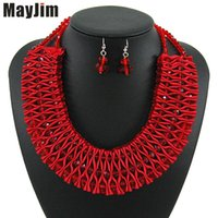 conjunto de joyas hechas a mano africanas al por mayor-Declaración MayJim perlas africanas Collar rojo joyas de cristal establece la cadena de plata hecho a mano conjuntos de joyería nupcial de las mujeres manera de la vendimia