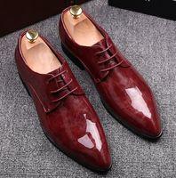 vestido de casamento vermelho masculino venda por atacado-2019 nova moda preto vermelho homens de couro genuíno vestido de sapatos, masculino oxford sapatos de negócios, homens de alta qualidade marca original do casamento