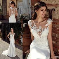 lace mermaid wedding dress toptan satış-Scoop Boyun Saten Mermaid Bohemia Gelinlik 2019 Cap Kollu Tül Dantel Aplike Artı Boyutu Düğün Gelinlikler elbiseler de mariée