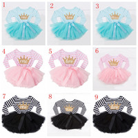 Wholesale 1st birthday clothes resale online - Baby birthday princess dress striped sequin tutu dresses newborn bow party for st nd th letter children clothes