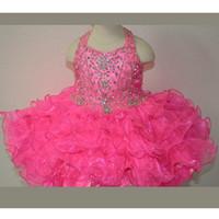 bebek kızı olay elbiseleri toptan satış-Fuşya Kızlar Çocuk Pageant Elbiseler Katlı Boncuklu Organze Halter Mini Durum Balo Parti Abiye Bebek Küçük Kız Abiye Custom Made