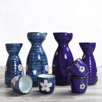 ingrosso bottiglie dipinte a mano-Tazza da caraffa vintage in porcellana stile sake in porcellana, colore blu intenso con Sakura Folral dipinta a mano, ristorante Wine Drinkware
