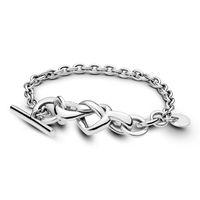 pan armreif großhandel-Original 925 Sterlingsilber-Pan geknotete Herz-Armband-Schlange-Ketten-Armband-Armband-Fit-Korn-Charme-Frauen Schmuck