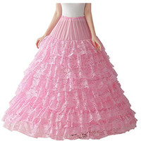 Wholesale long layer petticoat resale online - Fashion Layers Petticoat Pink Lace Super Puffy Ball Gown Petticoat Underwear Wedding Accessory Underskirt For Long