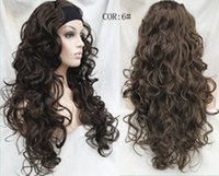 Wholesale curly wigs headbands for sale - Group buy fashion Ladies Wig With headband Long curly Synthetic Hair Half Heat Resistant queen Cosplay hair wigs Free deliver