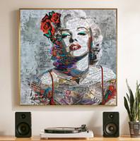 marilyn monroe pinturas venda por atacado-SELFLESSLY Street Art Painting Marilyn Monroe lona arte impressões e cartazes para sala de estar abstrato moderno decorativo pinturas