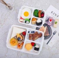 weiße lunchboxen großhandel-Bento Lunch Boxes mit Deckel 3 Fach Wiederverwendbare mikrowellengeeignete Behälter Startseite Lunchbox Mahlzeit Lagerung Lebensmittelvorbereitung Lunchbox Weiß