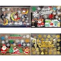 Wholesale black decoration stickers for sale - Group buy Taoup Merry Christmas Window Stickers Noel Snowflake Santa Claus Wall Stickers Xmas Ornaments Christmas Decoration for Home