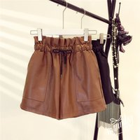 2019 Spring New Korean Style Female Sexy Leather Shorts High Loose Wide Leg Short Femme Elastic Waist Belt Free Shipping C19041901